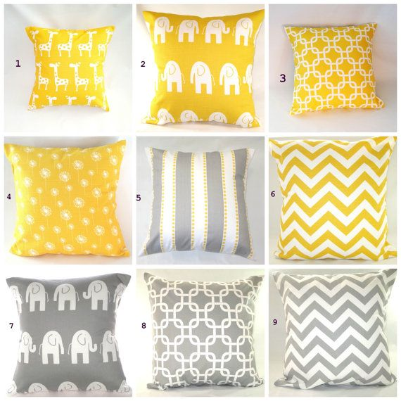 Pillows, Yellow Pillow, Baby, Nursery, Decorative Throw Pillow, Grey Pillow, Chevron Pillow, Giraffe Elephant 14 x 14 on Etsy, $13.00