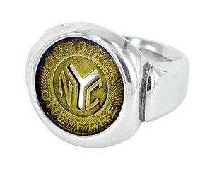 NYC Subway token ring in sterling silver and recycled subway token - $396