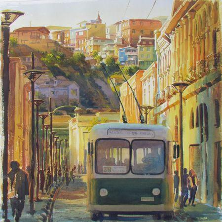 Calles de Valparaíso. Acuarela 60 x 60 cm.