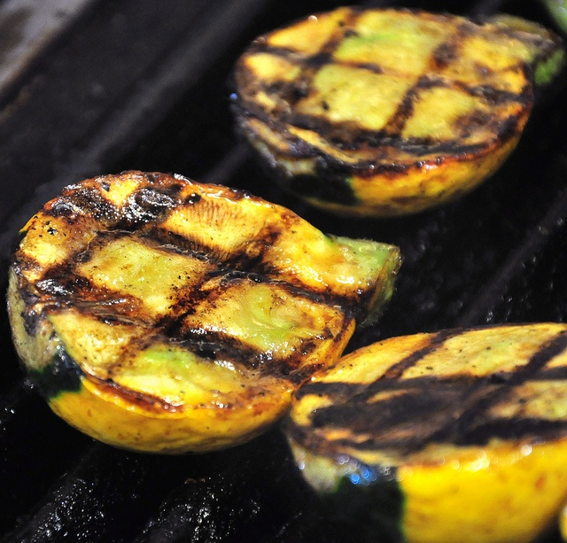 We had grilled peaches as part of our vegan wedding food.