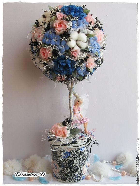 """Топиарий """"Дерево фей"""". - синий,хлопок,розовые розы,подарок на любой случай"""