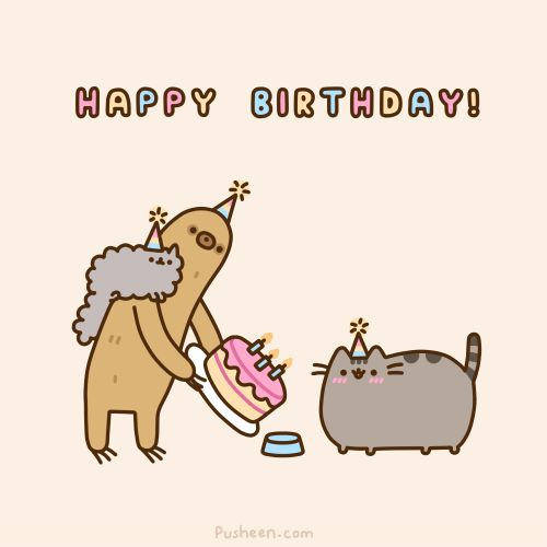 e621 :3 ambiguous_gender animated birthday blur cake cat cub cute english_text feline food fur grey_fur happy mammal plain_background pusheen pusheen_corp simple_background sloth text whiskers young