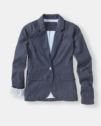 Polka dot blazer with contrasting lining