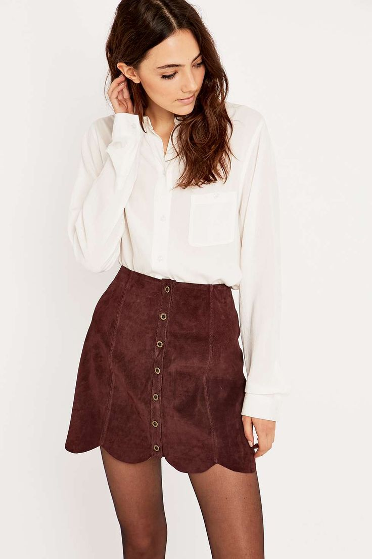 Urban Outfitters Suede Scalloped Hem Skirt