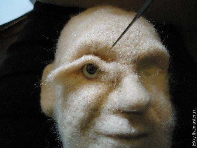 Как поместить твердое в мягкое, или Вставляем глазки из пластика в валяную голову - Ярмарка Мастеров - ручная работа, handmade