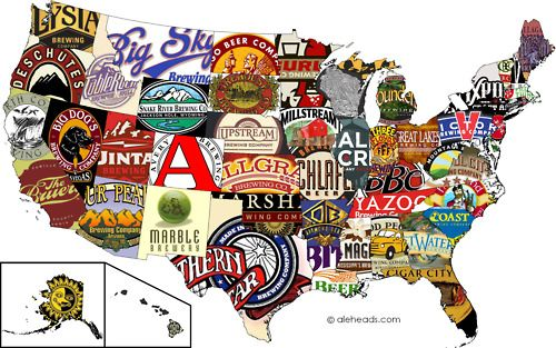 The United States of Craft Beer  so many beers, so little time.  Also, there are SO many more that could/should be included in this graphic (especially from California).: Brewery, Maps, Beer Labels, U.S. States, United States, Crafts