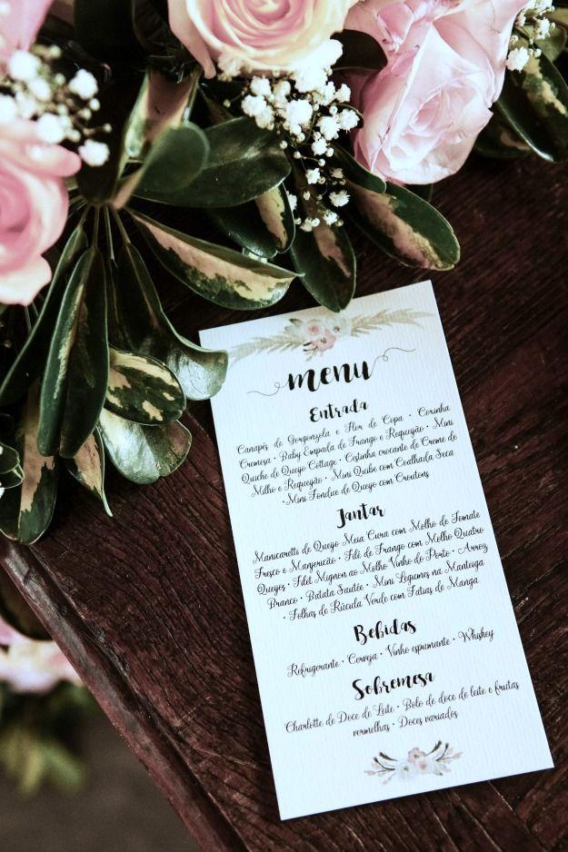 Casamento Rústico Campinas - Menu de Casamento