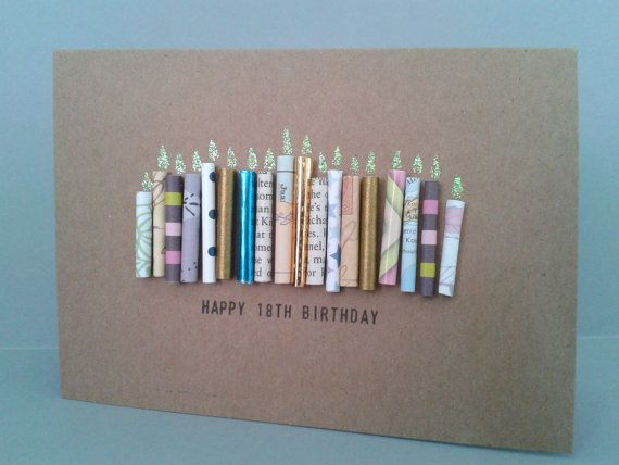 Happy 18th Birthday Candle Card Can be Personalised. by GurdGifts