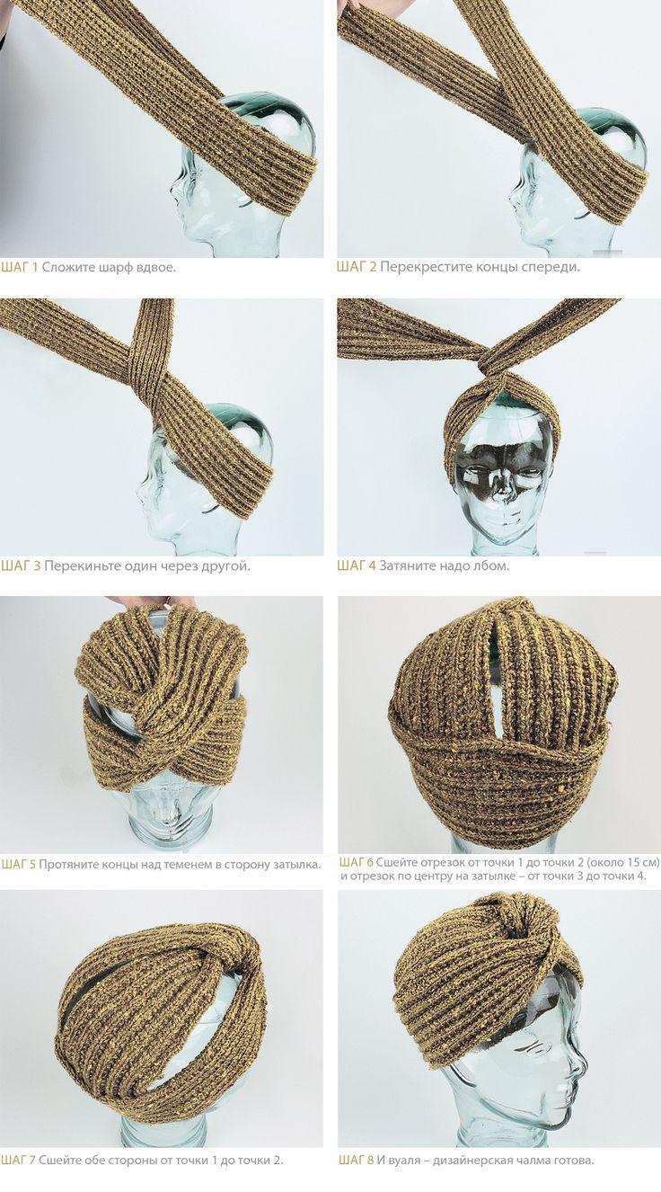 Шапка-чалма - схема вязания спицами. Вяжем Шапки на Verena.ru