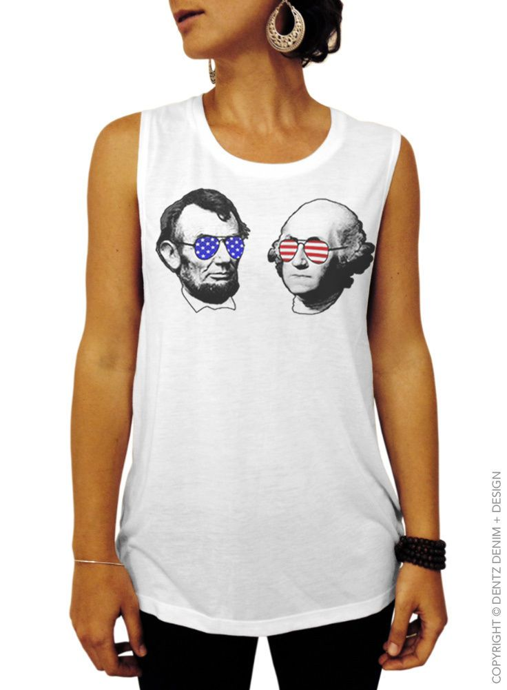 4Th Of July Usa Presidents Lincoln & Washington White Women's Muscle Tank Top