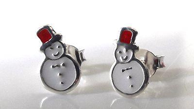Silver and Enamel Snowmen Studs