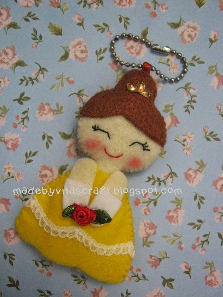Belle Disney Princess Felt Doll Keychain