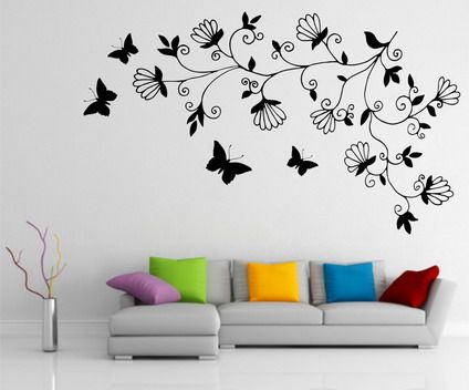 abstract dark tree butterfly wall stickers decals art for for small modern living room wall painting - Wall Paint Design