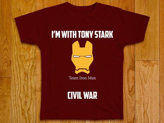 Civil War Marvel T-shirt  Team Iron Man by GeeksDragons on Etsy