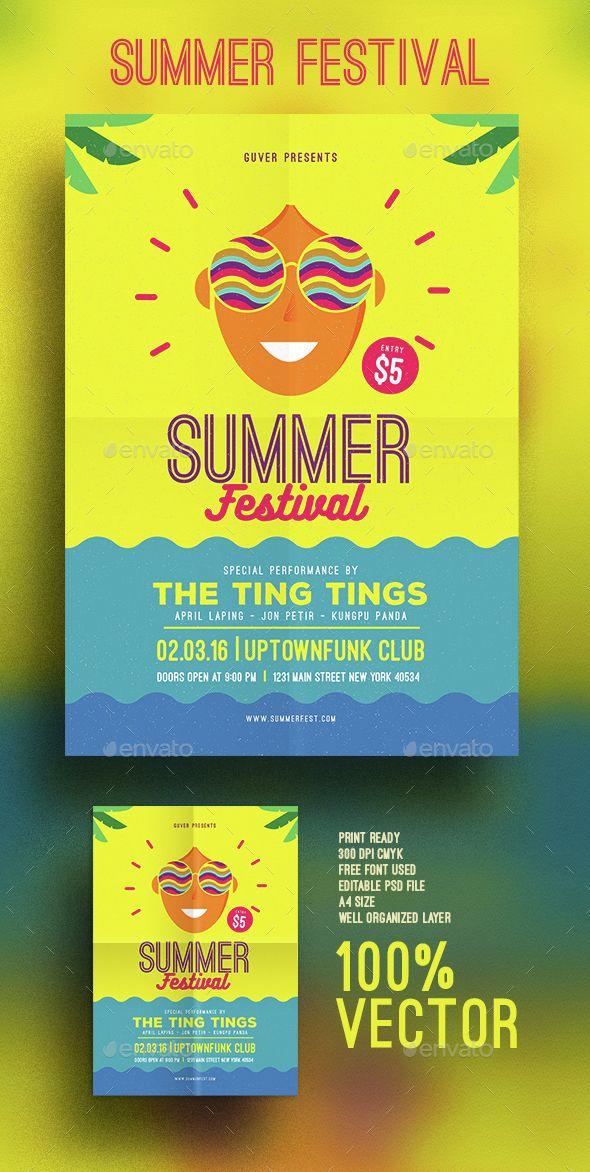 Summer Festival Flyer Template PSD Vector AI. Download here: http://graphicriver.net/item/summer-festival-flyer/15349110?ref=ksioks