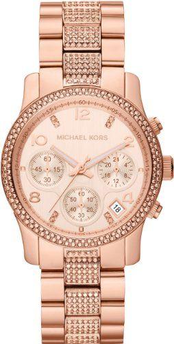 Michael Kors MK5827 Ladies Rose Gold Runway Stone Set Watch: Amazon.co.uk: Watches
