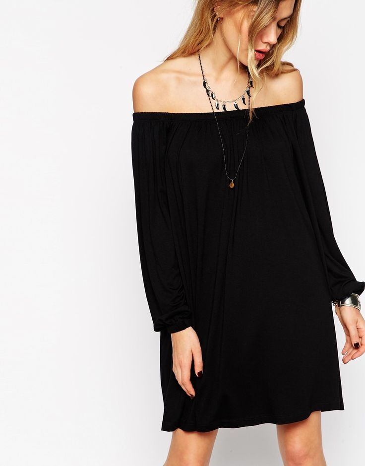 Image 3 ofASOS TALL Swing Dress With Off Shoulder Gypsy Detail