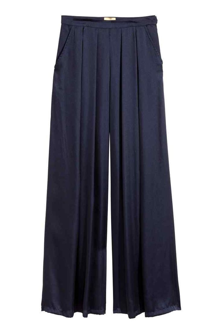 Široké saténové nohavice - tmavomodrá - ŽENY | H&M SK