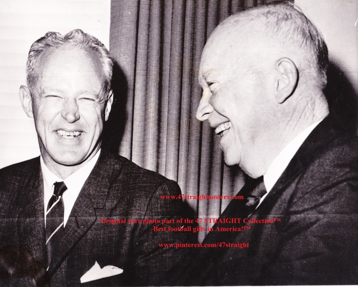 Bud Wilkinson with President Eisenhower. Original AP wire photo part of the 47 STRAIGHT Collection.™ http://pinterest.com/47STRAIGHT/  Follow us on Pinterest!