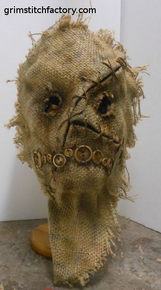 """""""Wanna see my mask?"""" This could be easy and scary for the maze...Nice to have eyes to see through for once. Maybe more air holes and softer fabric on the inside? Burlap sucks"""