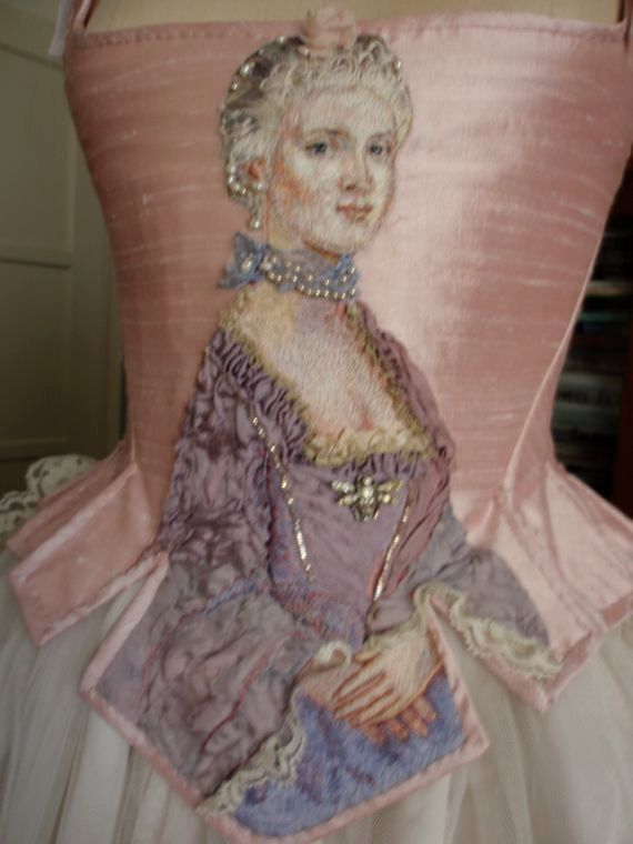 Hand Embroidered Silk Art Painting Marie Antoinette Portrait Corset Bodice Wedding Paris Couture Theatre. $1,495.00, via Etsy.