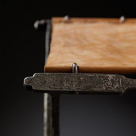 Byzantine folding-chair -  iron with yellow copper inlay  Byzantine period, 6th C 43 x 35 cm