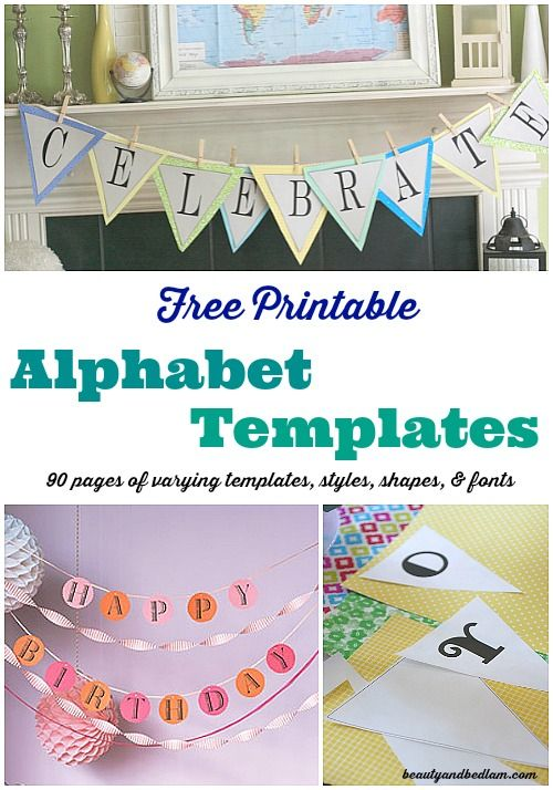 90 pages of free printable alphabet templates with different fonts, shapes, hearts and more @Jen (Balancing Beauty and Bedlam blog