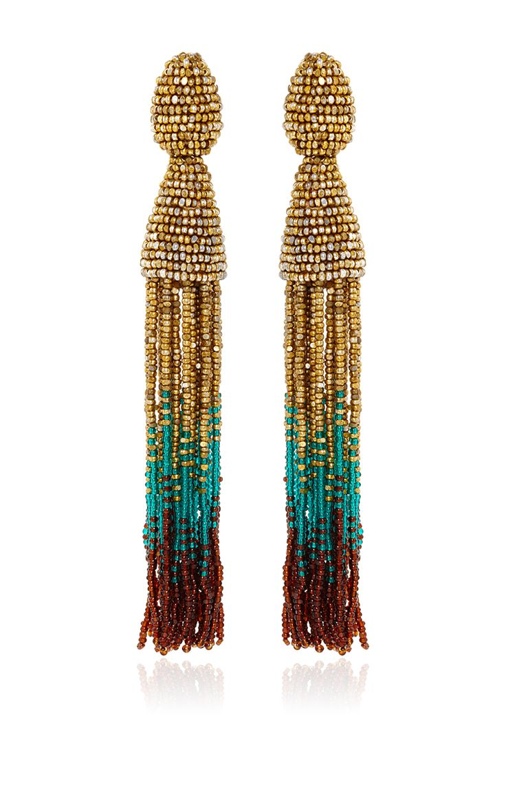 Ombre Beaded Tassel Earrings by Oscar De La Renta - Preorder now on Moda Operandi