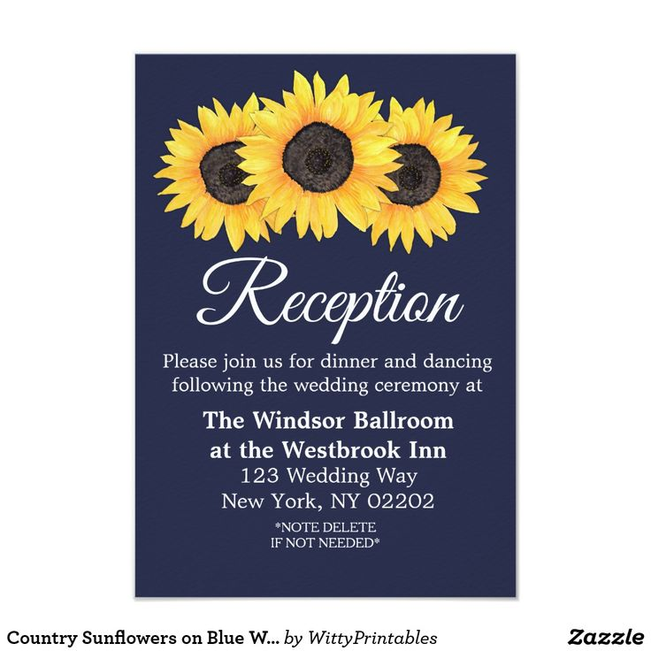 Country Sunflowers on Blue Wedding Reception Card