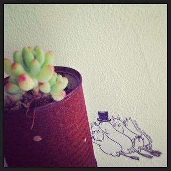 ムーミンのウォールステッカーをポイント使い。植物とうまくマッチしていますね。