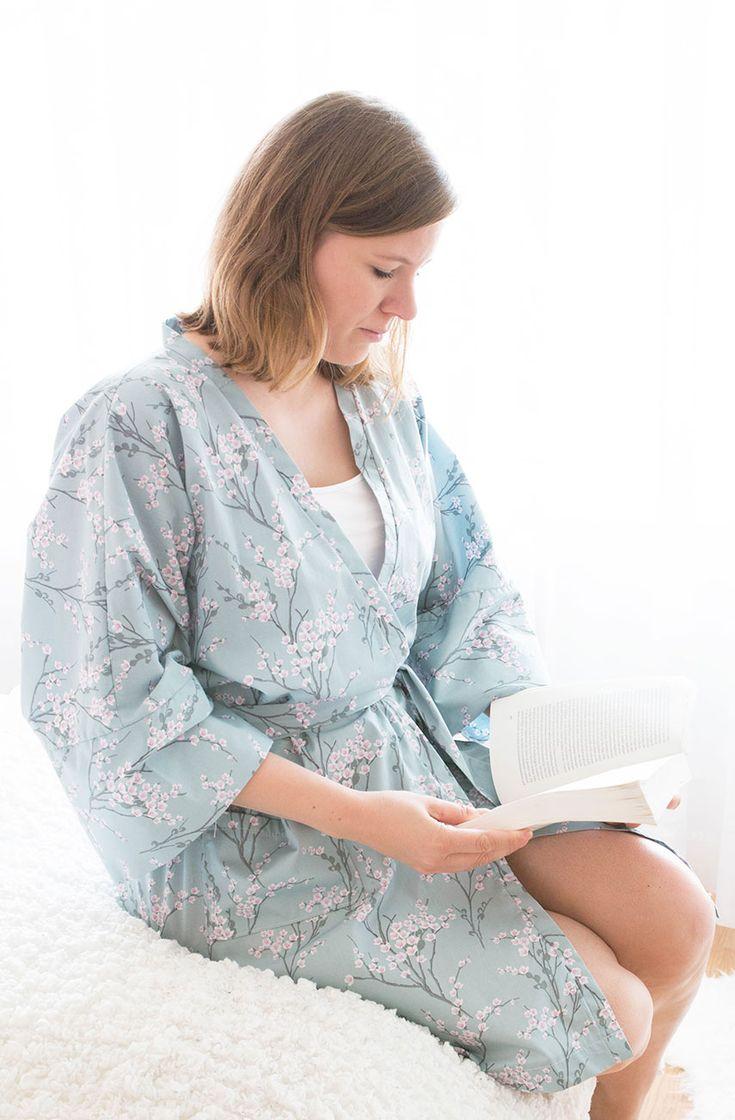 So einfach kannst du dir einen Kimono Morgenmantel nähen! Perfekt für gemütliche Morgende und das Wochenende!