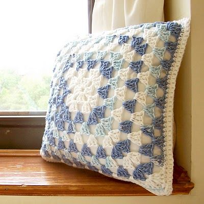 Granny Square Pillow--has clear directions for turning the square into a pillow.