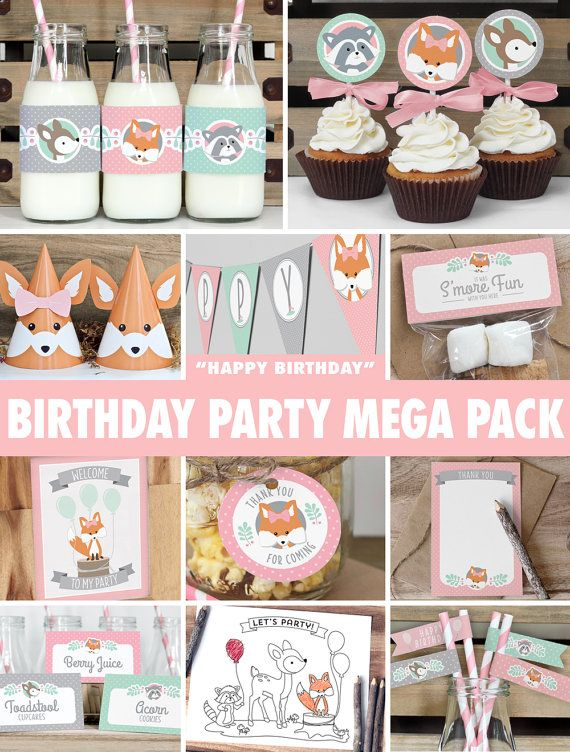 SAVE 50% with the mega party pack! Everything you need to throw a spectacular woodland birthday party for your little one. Colours are