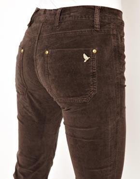 Женские бархатные коричневые джинсы