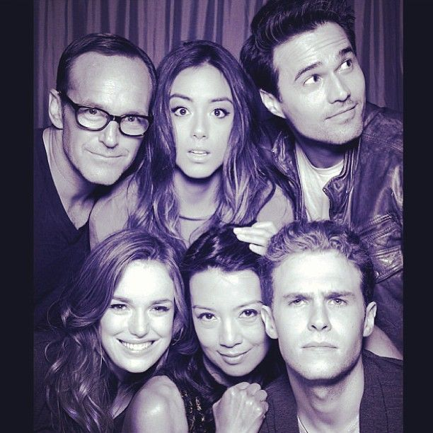Agents of SHIELD cast  |  Ward is the only one not looking at the camera.  Guess that means he's HYDRA... ;-)