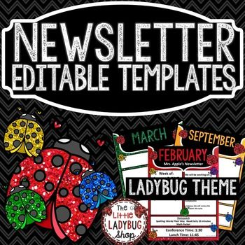 Newsletter Template LADYBUG GLITTER THEME! EDITABLE PowerPoint with Monthly Themes, perfect for weekly/monthly communication with school, parents, and families.