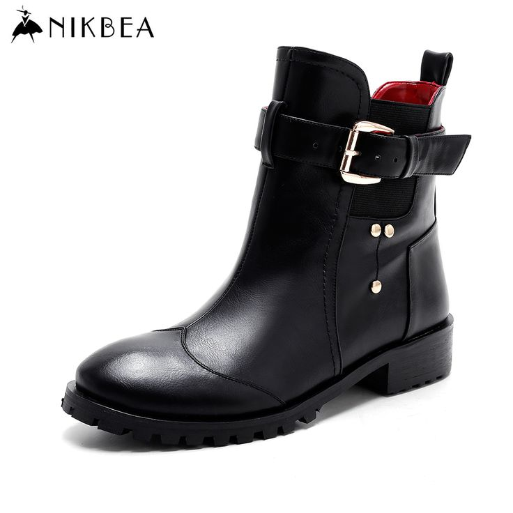 Find More Women's Boots Information about Nikbea Black Fashion Chelsea Boots Rivets Punk Ankle Boots for Women 2016 Autumn Shoes Winter Boots Short Flats Botas de Mujer ,High Quality boot shoes for men,China boots with wool lining Suppliers, Cheap boots ring from nikbea on Aliexpress.com