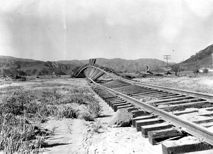 St. Francis Dam Flood March 12-13, 1928. Flood-twisted railroad track between Castic Junction and Piru, California. March 18, 1928.