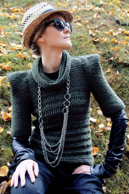 """Olive green military autumn hand knit sweater."" It looks hand knit. I can also say you look very... special in it. Special. Special."