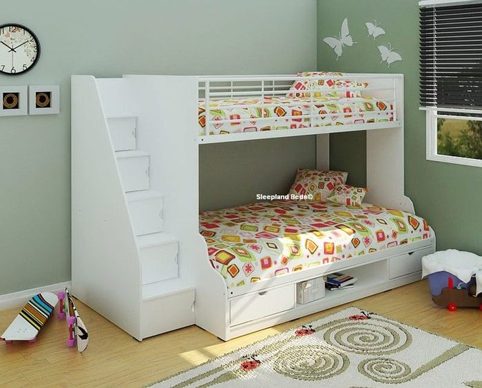 white trio single and small double bed bunk beds with storage stairs