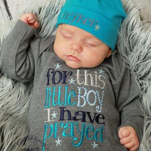 For This Little Boy I Have Prayed, Cotton Beanie-newborn gown, embroidered baby boy gown,