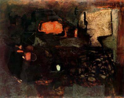 "Antoni Clavé Sanmartí (1813 - 2005). ""Deux fruits rouges, 1960"". 114 x 146 cm. Colección M. Mare. París. Francia."