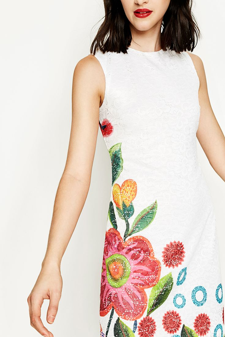 Desigual white sleeveless dress with lace and a floral print ascending from the bottom edge. Discover Desigual Spring - Summer 2017 collection!