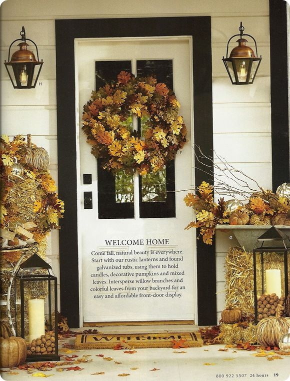 Haybale Outdoor Fall Decorations & Fall Porch Decorating | Pottery Barn