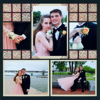 I totally needed an idea for a prom scrapbook layout and I found it! I know I am going to take a ton of photos of the kids together, so I like how this person placed multiple pictures on a single page. This would also be a good idea for a scrapbook layout for couples. #scrapbooktips