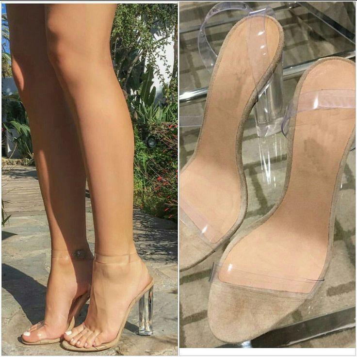 2017 Sexy Kim Kardashian Sandal Women PVC Clear Transparent Heel Back Strap High Heel Sandals Plus Size Custom Color Women Shoes