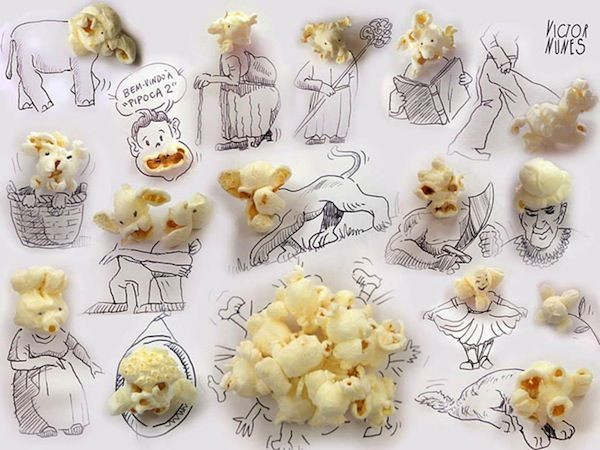 Artist Uses Everyday Food And Objects To Complete His Drawings - DesignTAXI.com