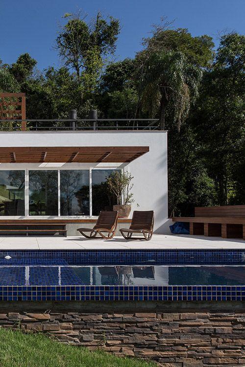 Pool area of beautiful house in Erechim, Brazil