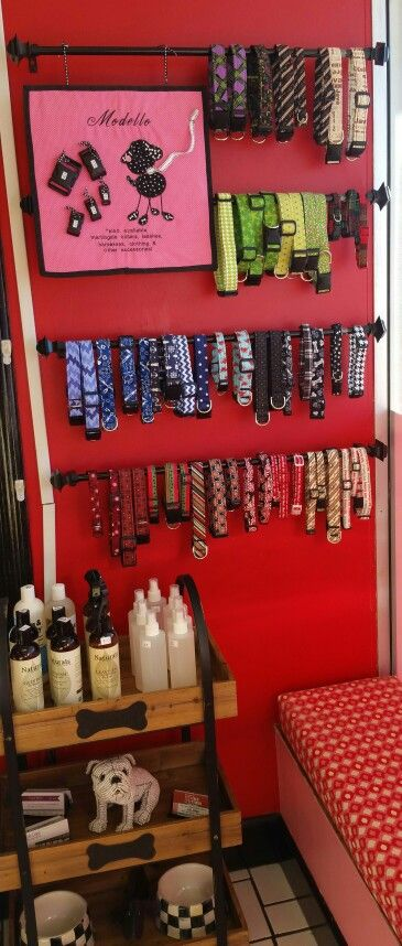 Here is a picture of the updated display of my handmade dog collars for sale at Harmony's favorite place! New colors and styles are always being added.   Smooches for Pooches is a wonderful grooming/daycare studio. Stop in and check it out!