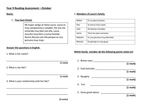 AQA GCSE Grade 1-9 exam style reading assessment - family, friends